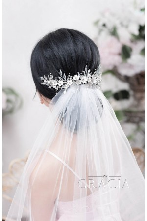 Enhance Your Romantic Bridal Hair Half Up Half Down Hairstyle with Veil Accessory Wedding Hairstyles Actual in Spring/Summer: Loose Updo in Messy Look with Veil Bridal Headpieces