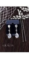 KLYTIE Crystal Pear Bridal Silver Earrings