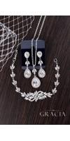 MNEME Cubic Zirconia Silver Crystal Bridal Dangle Earrings
