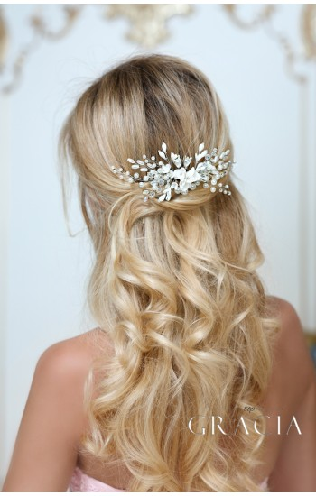 NIKOLETA Ivory Flower Silver Wedding Hair Comb