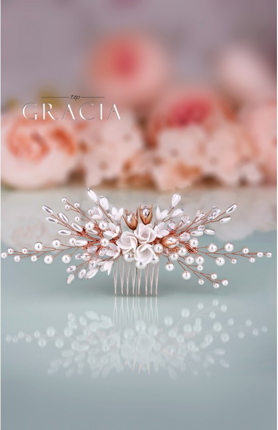 LIGEIA Rose Gold Wedding Bridal Flower Hair Comb With Crystal
