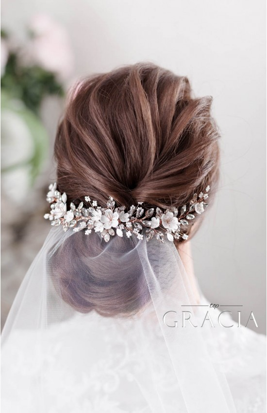 ABRI Stylish Bridal Floral Hairpiece with Sakura Blooms and Crystals