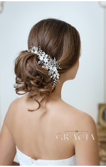 ADONI  White Ivory Flower Hairpiece for Wedding With Crystals