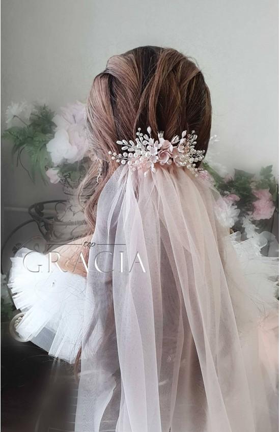 ALEXA BLUSH Soft Wedding Veil and Headpiece