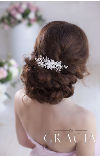 EUDOKIA Silver Flower Leaf Wedding Hair Bridal Comb