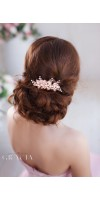 EUMELIA Rose Gold Pearl Bridal Wedding Bridal Hair Comb Accessory