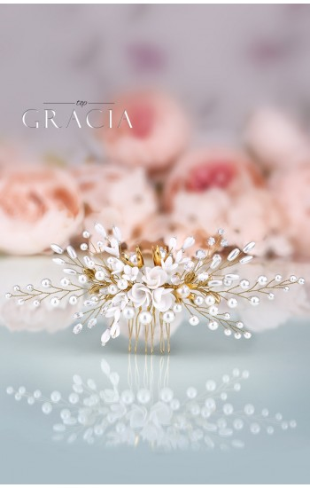 KLYMENE Gold Bridal Hair Comb Floral Wedding Comb