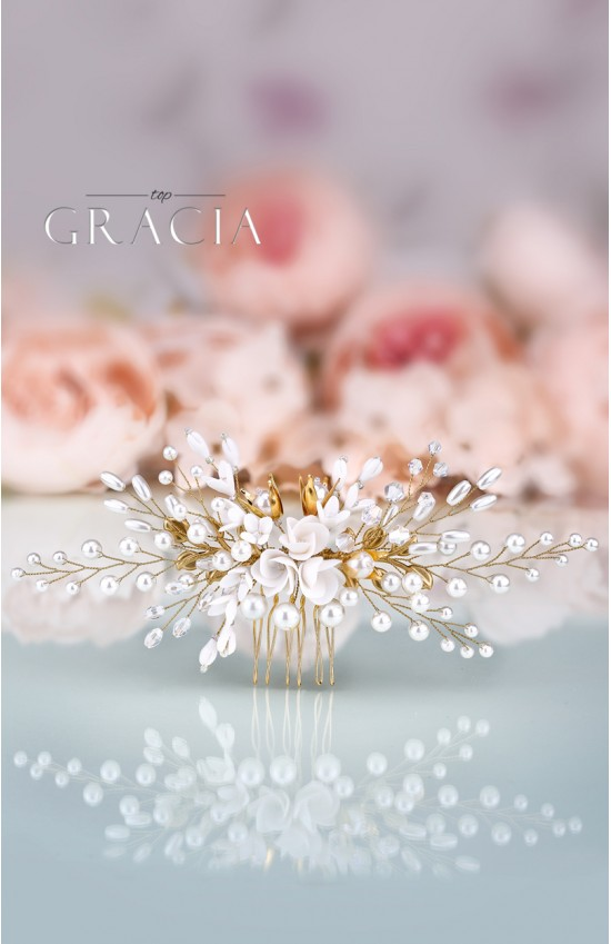 KLYMENE Gold Bridal Hair Comb Floral Wedding Comb