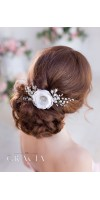 ELISAVET White Bridesmaid Bridal Hair Flower Wedding Hair Clip