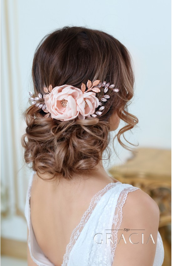 DIONA Rose Gold Blush Bridal Hair Flower With Crystal For Bridesmaid