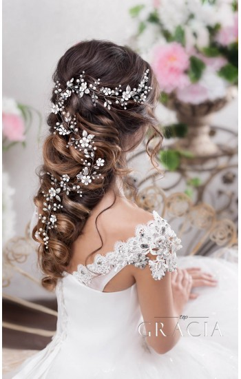 DORA Flower Long Wedding Hair Accessories Crystal Bridal Wire Hair Vine Headpieces
