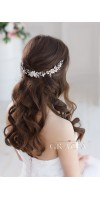 DORCIA White Silver Wedding Bridal Flower Crown
