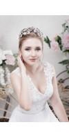 EUNIKE Flower Leaf Bridal Tiara Crown For Wedding With Crystals