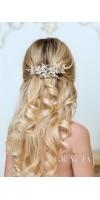 GAIA Flower Silver Gold Pearl Wedding Hair Comb Rhinestone Bridal Hair Jewelry Crystal Headpiece