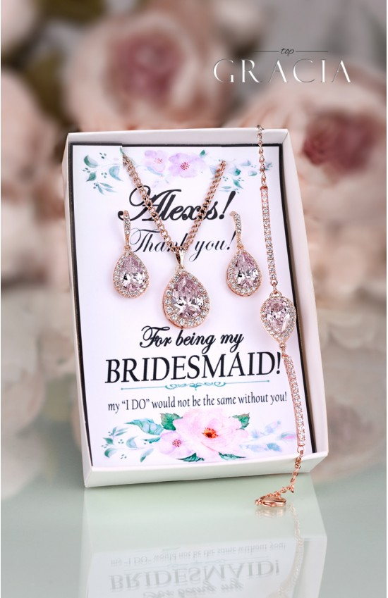 KYNTHIA Pink Blush Rose Gold Crystal Bridesmaid Gift Earrings Necklace Jewelry Set