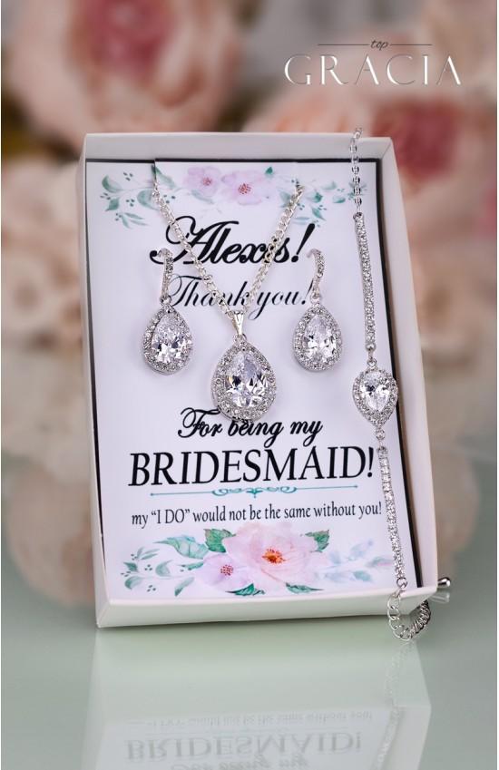 MELITA Bridesmaid Gift Jewelry Set Crystal Teardrop Bridal Earrings Necklace Cubic Zirconia