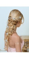 HELEN White Flower Long Bridal Hair Vine With Crystals And Pearls