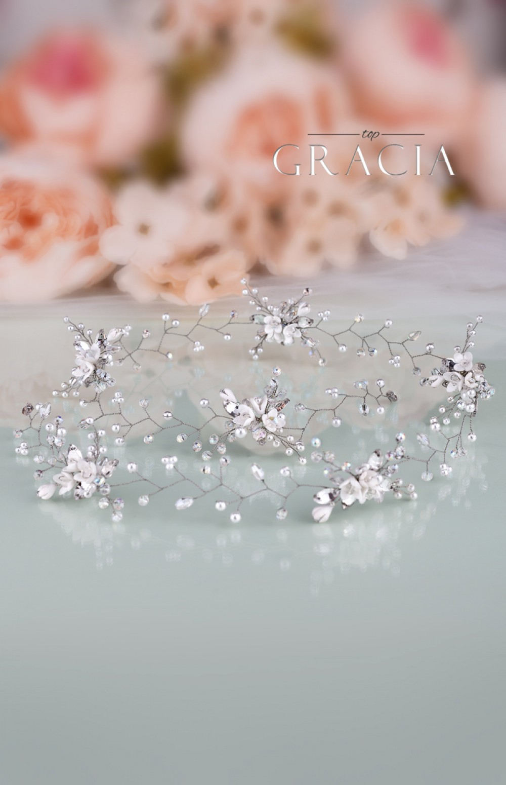 Helen White Flower Long Bridal Hair Vine With Crystals And Pearls By