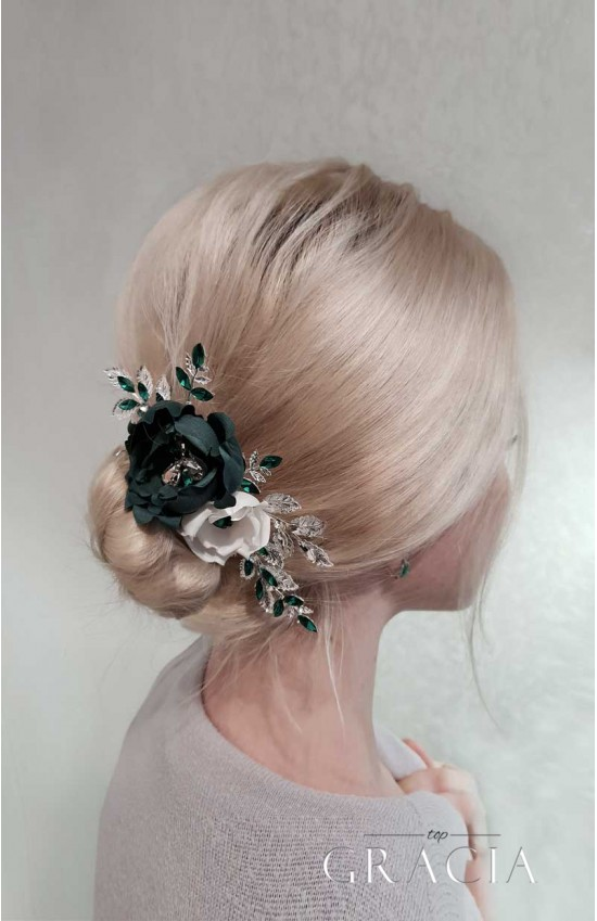 HERA Emerald Green Wedding Hair Comb