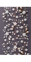 IOLANTA Long Pearl Flower Bridal Hair Vine With Crystals