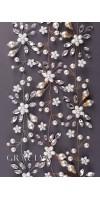 IOLANTA Long Pearl Flower Bridal Hair Vine With Crystals