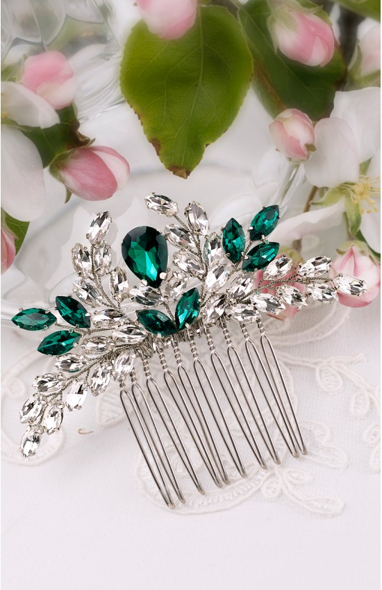 IREN Crystal Emerald Green Hair Comb For Prom Hairstyle