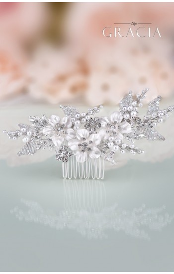 GAIA Flower Silver Gold Pearl Wedding Hair Comb Rhinestone Bridal Hair Jewelry Crystal Headpiece