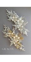 KASSIOPEIA Flower Silver Pearl Wedding Hair Comb Bridal Flower Accessory