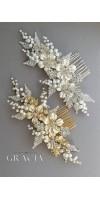 GAIA Flower Silver Pearl Wedding Hair Comb Rhinestone Bridal Hair Jewelry Crystal Headpiece