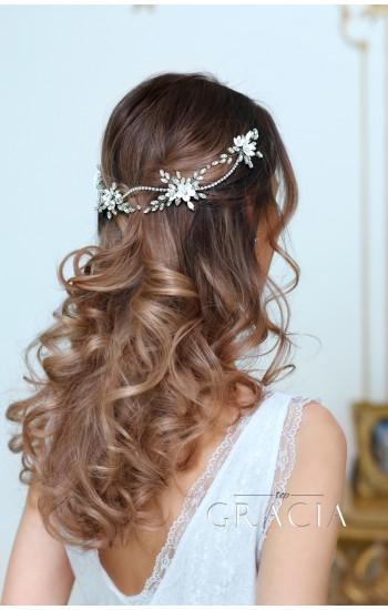 KLEOPATRA Crystal Fower Rhinestone Bridal Halo for Wedding Headband
