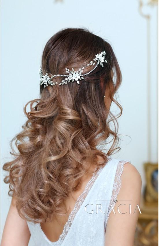 KLEOPATRA Crystal Fower Bridal Halo for Wedding Headband