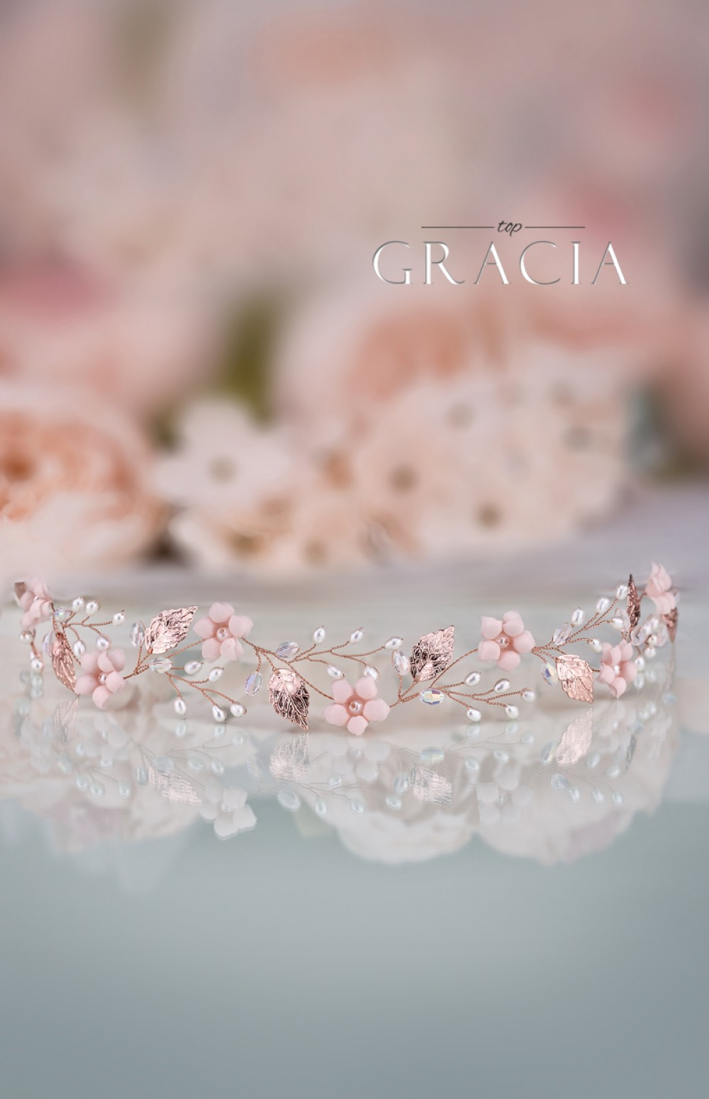 7d8d56b7520 KORE Blush Rose Gold Bridal Flower Tiara Crown Flower Girl Headband by  TopGracia