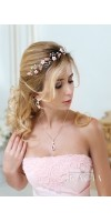 KORE Blush Rose Gold Bridal Flower Tiara Crown Flower Girl Headband