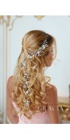 LEDA Long Flower Bridal Wedding Hair Vine With Crystals