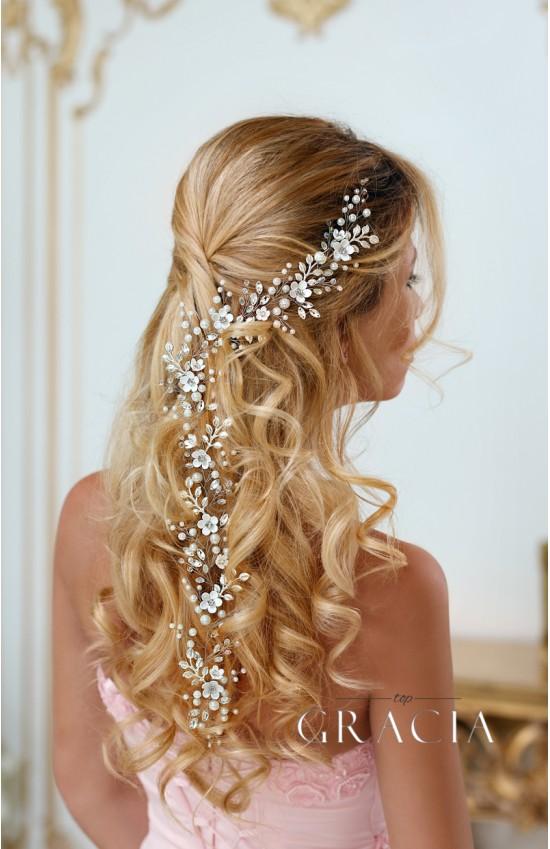 LEDA Long Flower Bridal Wedding Hair Vine With Crystals