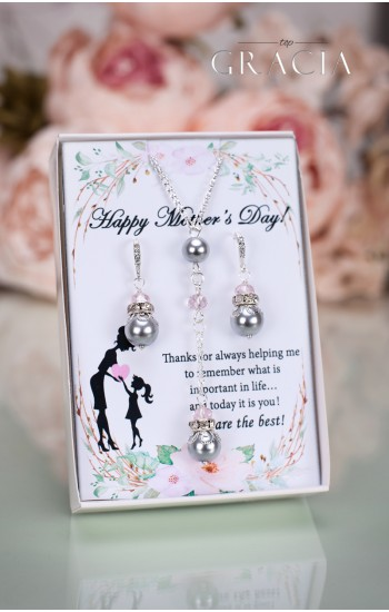 LENA Mother's Day Gift Gray Pearl Earrings Necklace - Jewelry Set