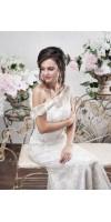 LETO Gold Wedding Dangle Crystal Bridal Earrings