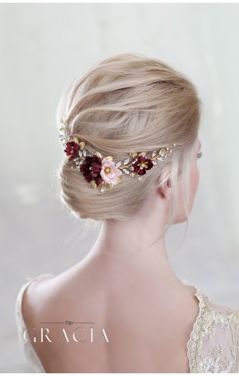 LEXIS Burgundy Wedding Hair Piece with maroon hair flowers to Your Bridal Appearance