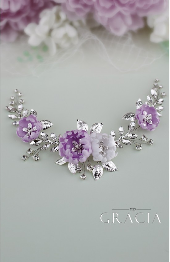 LILY Violet Bridal Hair Piece