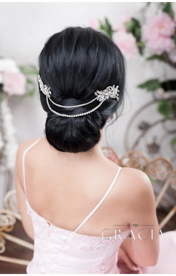 NEPHTHYS Rhinestone Hair Chain Wedding Headpiece Two Bridal Crystal Hair Combs