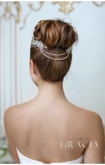 NEPHTHYS Rhinestone Hair Chain Wedding Headpiece Two Bridal Crystal Hair Combs