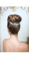 NIKEPHOROS Silver Leaf Bridal Hair Piece With Crystals And Flowers