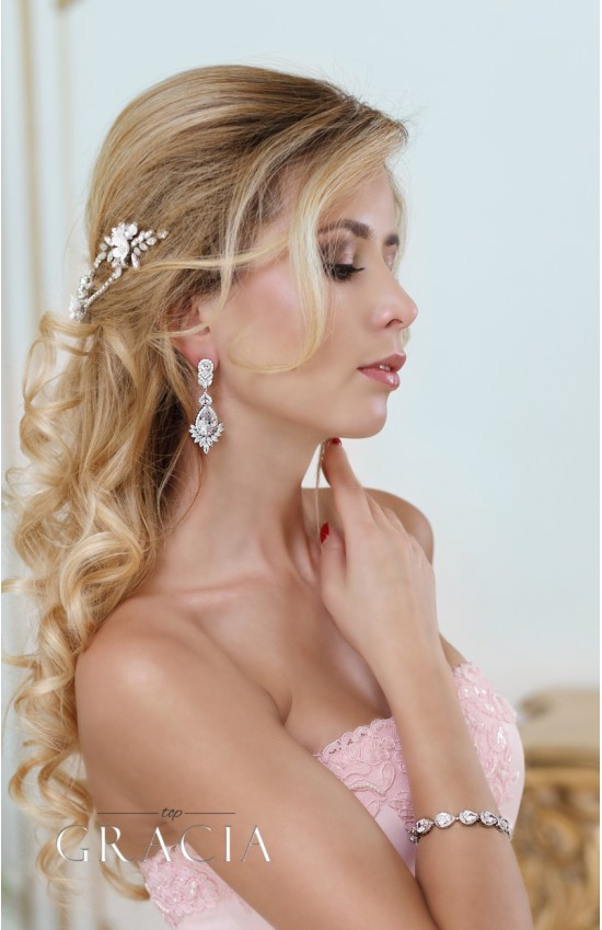 NYX Clear Cubic Zirconium Silver Crystal Tear Drop Stud Bridal Earrings
