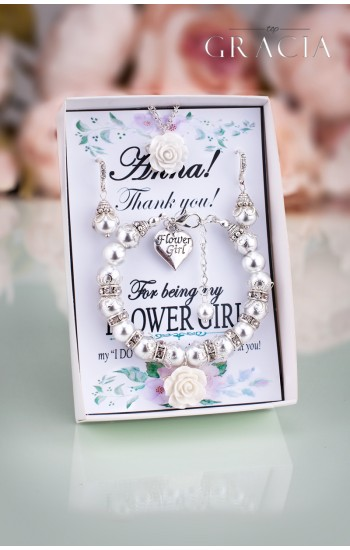 OINONE White Ivory Pearl Flower Girl Gift - Bracelet With Flower And Crystals