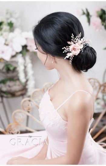 OLIA Rose Peach Blush Bridal Silk Hair Flower Comb