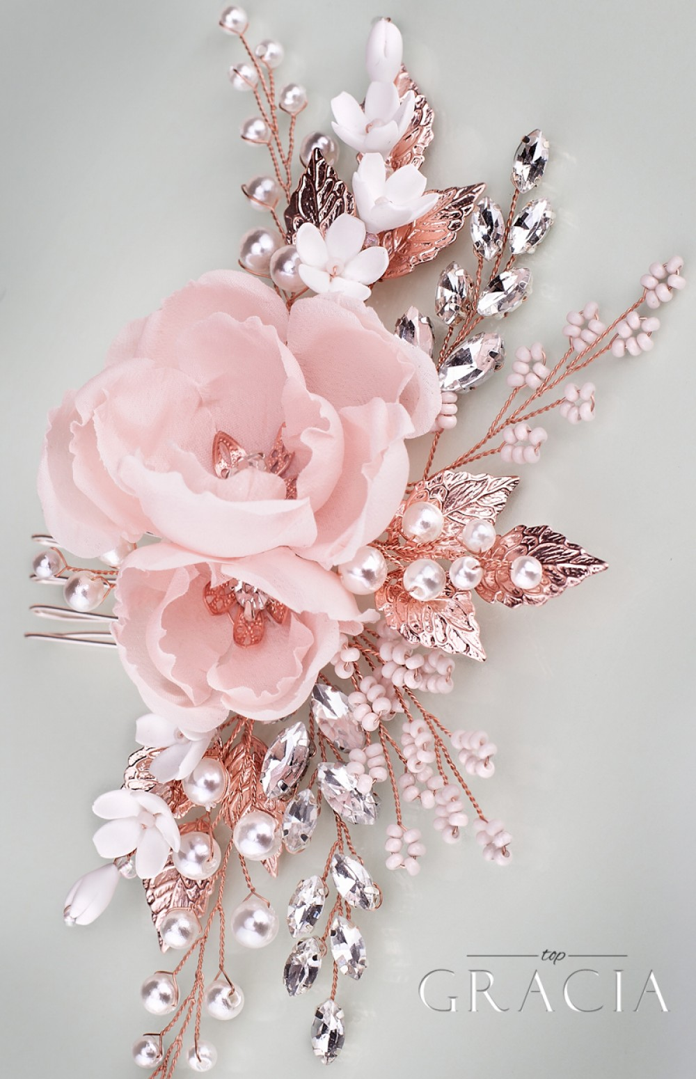 Olia rose peach blush bridal silk hair flower comb by topgracia mightylinksfo