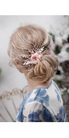 OLIA Rose Peach Blush Bridal Silk Hair Flower Comb