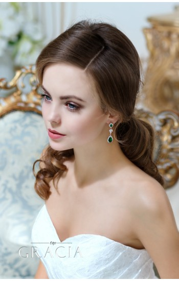 OPHELIA Cubic Zirconium Emerald Green Bridal Earrings Neacklace Set