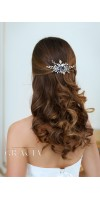 PANAGIOTA Navy Royal Blue Crystal Flower Bridal Hair Comb