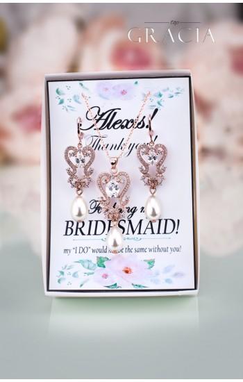 PARASKEVE Rose Gold Wedding Pearl Jewelry Teardrop Earrings Necklace